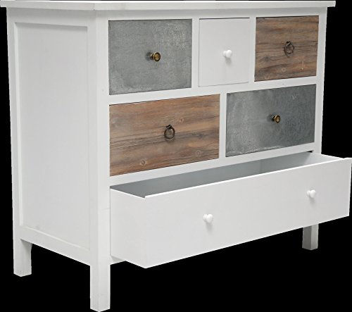 Kommode Retro Look Weiss Bunt 6 Schubladen Sideboard