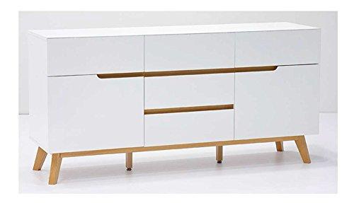 Kommode Sideboard Weiss Matt Eiche Retro Modern