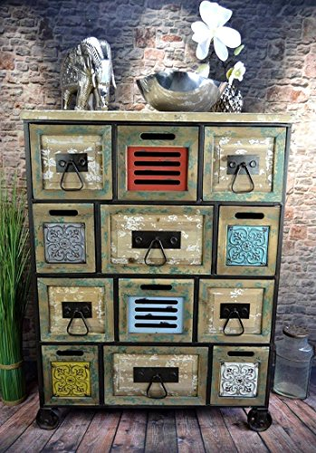 livitat sideboard kommode metall 100 x 76 cm vintage industrie look loft retro shabby lv5040. Black Bedroom Furniture Sets. Home Design Ideas