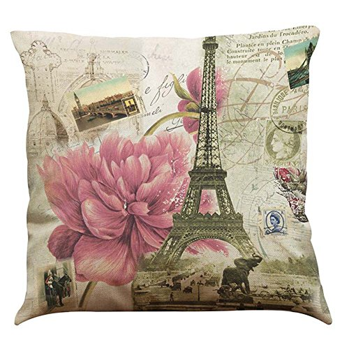 MStar Retro-Stil schöne Blume Muster gedruckt Kissenbezug 45X45cm Leinen-Baumwoll atmungsaktiv Kissenhülle