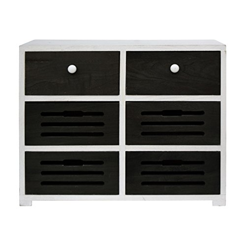 rebecca srl sideboard 6 schubladen holz wei grau retro. Black Bedroom Furniture Sets. Home Design Ideas