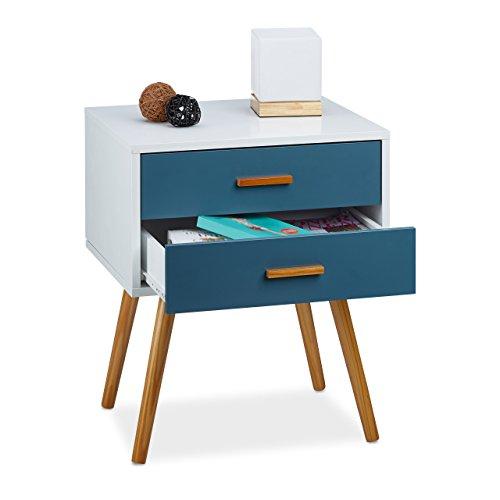relaxdays beistellschrank skandinavisches design 2 schubladen retro hbt 58 x 41 x 48 cm matt. Black Bedroom Furniture Sets. Home Design Ideas
