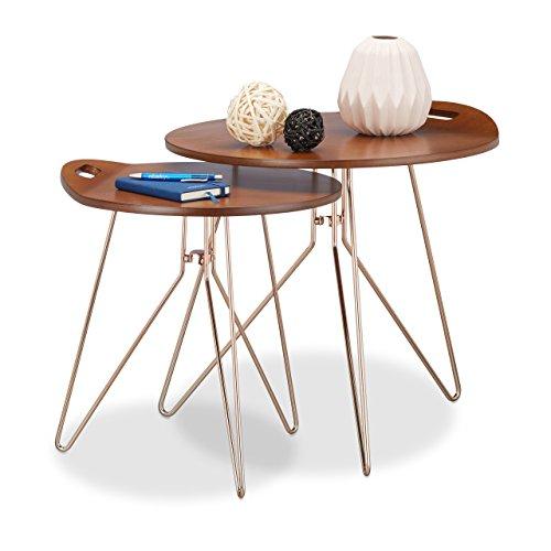 Relaxdays Beistelltisch 2er Set Holz Metallgestell Retro Design