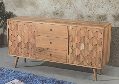 retro sideboard kommode honeycomb akazie massiv retro stuhl. Black Bedroom Furniture Sets. Home Design Ideas
