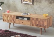 Retro TV-Board Sideboard Honeycomb Akazie Massiv