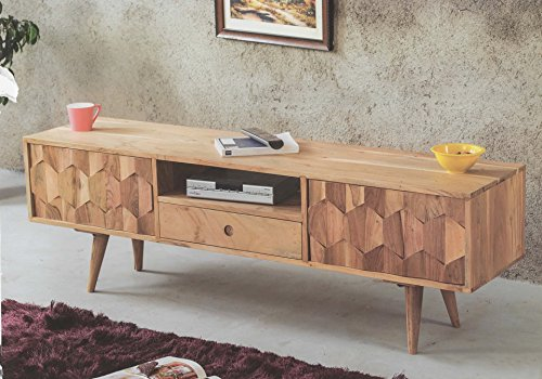 retro tv board sideboard honeycomb akazie massiv retro stuhl. Black Bedroom Furniture Sets. Home Design Ideas
