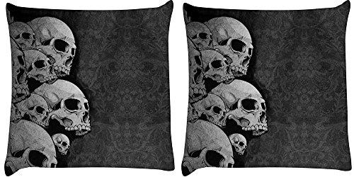 Snoogg 2Stück Dark Skull Death Digital Kissenbezug, bedruckt Kissen 40,6x 40,6cm
