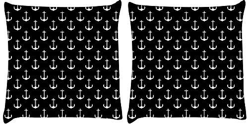 Snoogg 2Stück schwarz und weiß Anker Digital Kissenbezug, bedruckt Kissen 40,6x 40,6cm