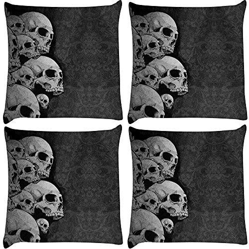 Snoogg 4Stück Dark Skull Death Digital Kissenbezug, bedruckt Kissen 40,6x 40,6cm