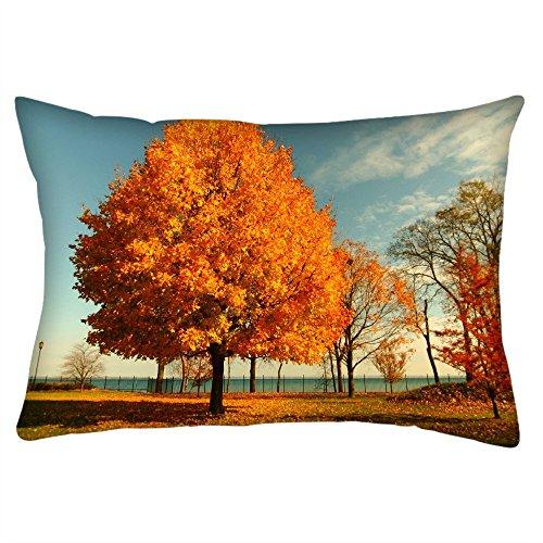 Snoogg orange Blätter in Bäume Rechteck Überwurf Werfen Kissenbezug, Decoarative Kissen Fall 50,8x 76,2cm