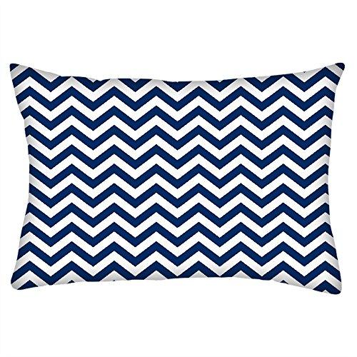 Snoogg weiß und blau Streifen Rechteck Überwurf Werfen Kissenbezug, Decoarative Kissen Fall 35,6x 55,9cm