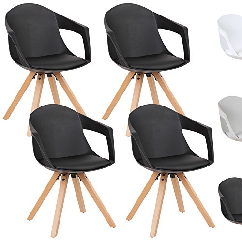 WOLTU® Esszimmerstuhl 4er Set Esszimmerstühle Küchenstuhl Wohnzimmerstuhl, mit Arm- und Rückenlehne, Sitzfläche aus Kunstleder, Beine aus Massivholz, Schwarz, BH49sz-4