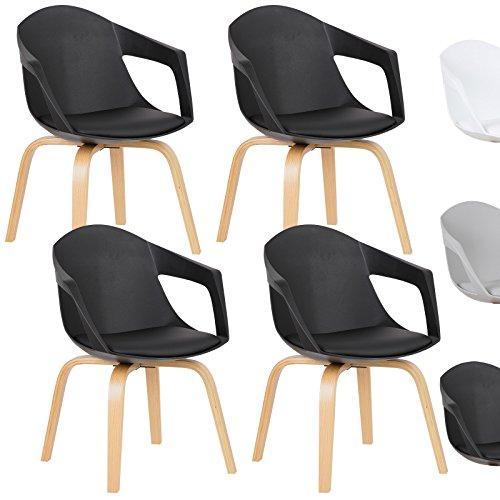 WOLTU® Esszimmerstuhl 4er Set Esszimmerstühle Küchenstuhl Wohnzimmerstuhl, mit Arm- und Rückenlehne, Sitzfläche aus Kunstleder, Beine aus Massivholz, Schwarz, BH50sz-4