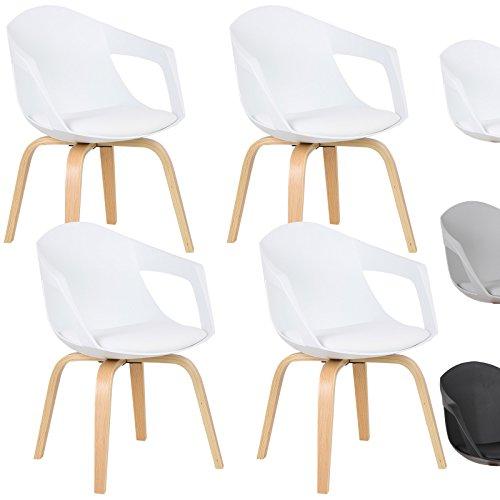 WOLTU® Esszimmerstuhl 4er Set Esszimmerstühle Küchenstuhl Wohnzimmerstuhl, mit Arm- und Rückenlehne, Sitzfläche aus Kunstleder, Beine aus Massivholz, Weiß, BH50ws-4