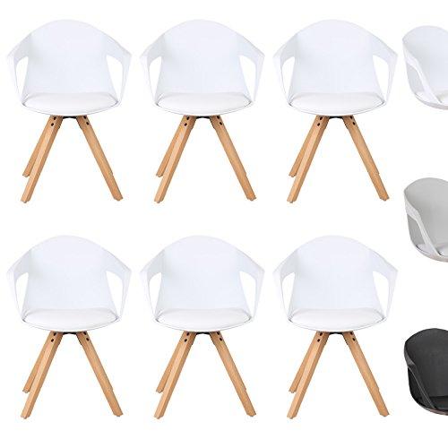 WOLTU® Esszimmerstuhl 6er Set Esszimmerstühle Küchenstuhl Wohnzimmerstuhl, mit Arm- und Rückenlehne, Sitzfläche aus Kunstleder, Beine aus Massivholz, Weiß, BH49ws-6