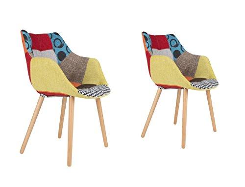 zuiver 1100266 stuhl twelve patchwork set of 2 stoff mehrfarbig 60 x 60 x 82 cm retro stuhl. Black Bedroom Furniture Sets. Home Design Ideas