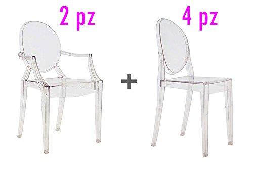 4 st hle 2 st hle design philippe starck replica ghost for Design stuhl replica