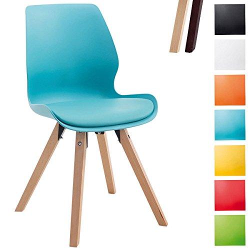 CLP Besucher-Stuhl PERTH, Bein-Form square, Kunststoff-Sitzschale gepolstert, klassischer Esszimmerstuhl, Buchenholz-Gestell, Blau, Gestellfarbe: Natura