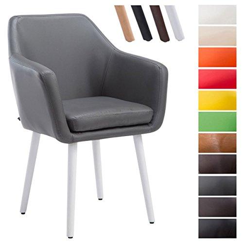 CLP Besucher-Stuhl UTRECHT, max. Belastbarkeit 150 kg, Kunstleder-Bezug, Holz-Gestell Eiche, Sitzfläche gepolstert, mit Armlehne, mit Bodenschonern Grau, Gestellfarbe: Weiß