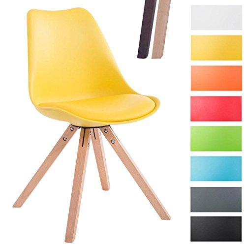 CLP Design Retro-Stuhl TOULOUSE SQUARE, Kunststoff-Lehne, Kunstleder-Sitz gepolstert Gelb, Holzgestell Farbe natura, Bein-Form eckig