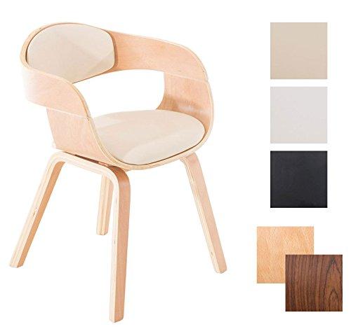 CLP Retro Besucher-Stuhl KINGSTON mit Armlehne, gepolstert, Holzgestell, modern Holz Farbe natur, Bezug Farbe creme