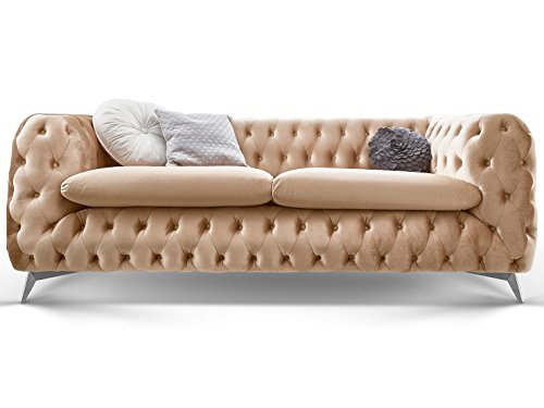 Chesterfield Sofa Couch Stoff Samt 3 Sitzer 2 Sitzer Sessel 1 Sitzer  Designer Möbel Emma (3-Sitzer,...