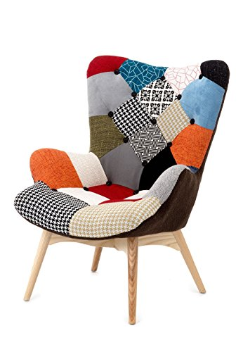 Fashion Commerce Patchwork Sessel, Holz, mehrfarbig, 70 x 78 x 96 cm