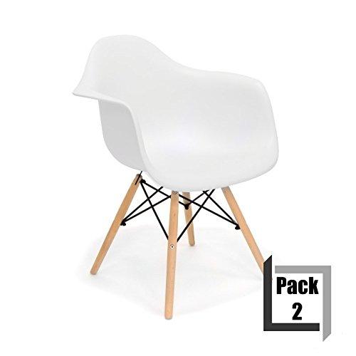 Pack von 2 Stühle Tower Wood Replica Eames, hochwertige Polypropylen ...