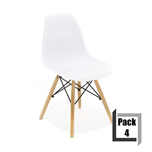 pack von 4 st hle tower wood pp replica eames qualit t und holz buche wei retro stuhl. Black Bedroom Furniture Sets. Home Design Ideas