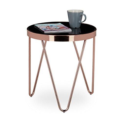 Relaxdays beistelltisch copper aus kupfer und schwarzglas for Beistelltisch kupfer
