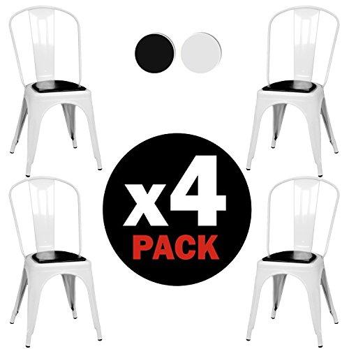 due-home–Pack 4Stühle Replica Tolix, Struktur aus Metall, Maße: 46,5cm (Breite) X 84cm (Höhe) X 52,2cm (Tiefe). Glänzend Weiß
