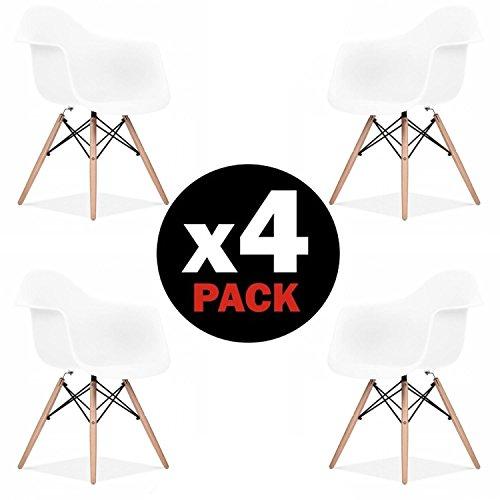 due-home (Schweden)–Pack 4Stühle Esszimmerstuhl Tower weiß und Buche, Stil Nordico, Maße: 82cm hoch x 62cm Breite x 58cm Fonds