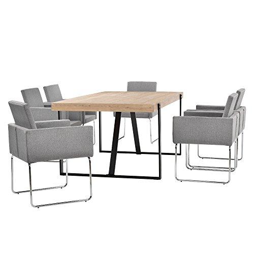[en.casa] Esstisch Eiche-hell mit 6 Stühlen lichtgrau (82,5cmx54cm)