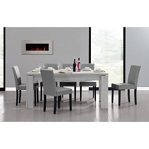 esstisch und stuhlset helsinki weiss 180x95 6 st hle gepolstert hellgrau. Black Bedroom Furniture Sets. Home Design Ideas