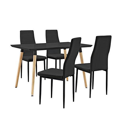 esstisch esszimmertisch k chentisch 120x80cm mit 4 polster st hlen aus pu. Black Bedroom Furniture Sets. Home Design Ideas