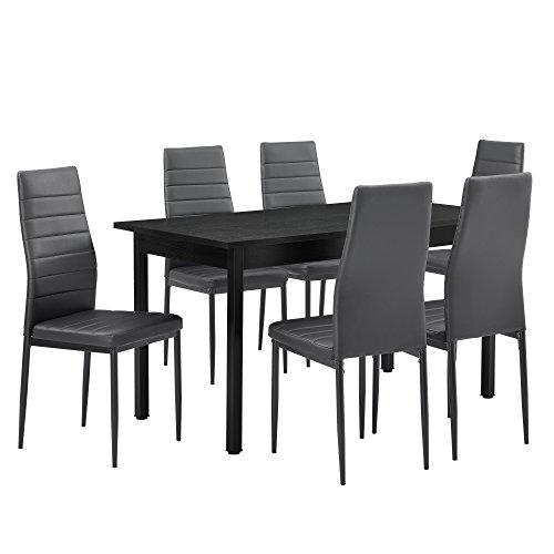 esstisch grau 140cm x 60cm x 75cm st hle grau. Black Bedroom Furniture Sets. Home Design Ideas