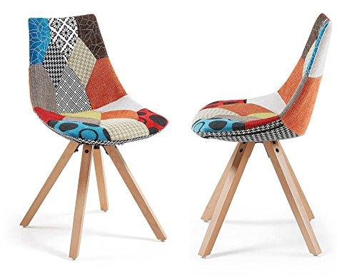 monroe lot de 2 st hle design patchwork f e holz. Black Bedroom Furniture Sets. Home Design Ideas