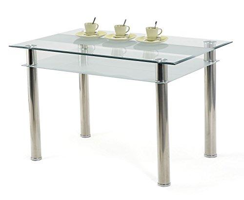 esstisch glastisch 120 x 80 cm kay june 80 mit 76mm edelstahl beinen 2 glasplatten retro stuhl. Black Bedroom Furniture Sets. Home Design Ideas