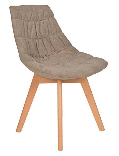 1 x Design Klassiker Sessel Wohnzimmer Küchenstuhl Esszimmerstuhl Barsessel Holz Stoff-Bezug Gepolstert Grau Braun Natur