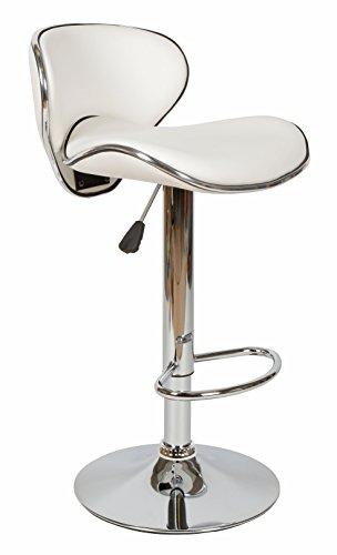 1 x ts-ideen Barhocker Barstuhl Barsessel Küchenstuhl Kunstleder Weiß Lederimitat Chrom glänzend Fußablage