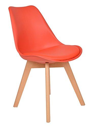1x Design Wohnzimmer Esstisch Küchen-Stuhl Esszimmer Sitz Polster Kunstleder Lederimitat Retro Design Lounge-Möbel Holz Rot