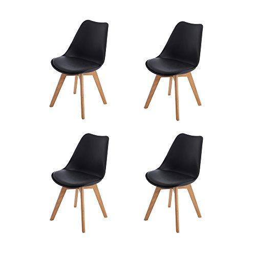 4er Set Esszimmerstühle mit Massivholz Eiche Bein, H.J WeDoo Küchen stühle mit Gepolsterter für Ess und wohnzimmer - Schwarz