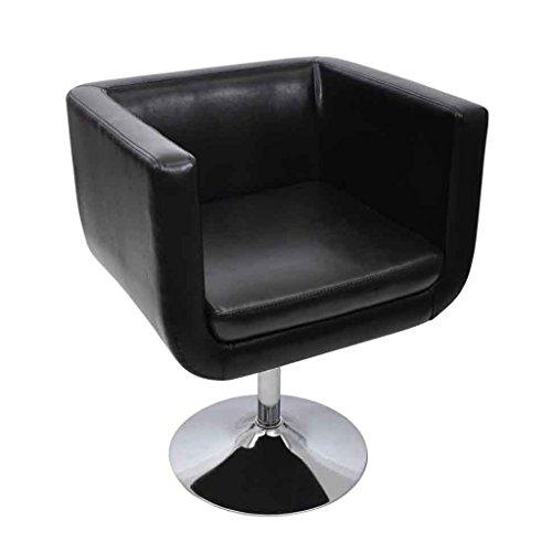Anself Loungesessel Clubsessel Cocktailsessel aus Kunstleder Höhenverstellbar und Drehbar Schwarz
