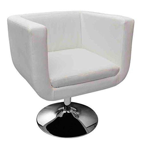 Anself Loungesessel Clubsessel Cocktailsessel aus Kunstleder Höhenverstellbar und Drehbar Weiß