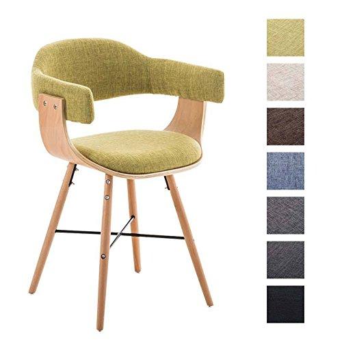 CLP Besucher-Stuhl BARRIE V2 Stoff, natura, mit Armlehne, gepolstert, Holzgestell, modern Grün