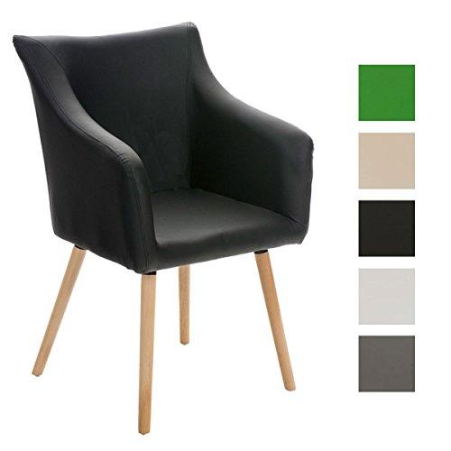 CLP Design Esszimmer-Stuhl MCCOY, Holz-Gestell, Sitzfläche gut gepolstert, Kunst-Leder Bezug Schwarz