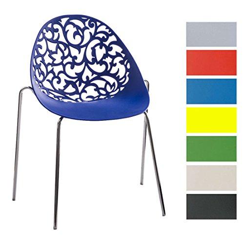 CLP Design Retro Stapelstuhl FAITH aus Kunststoff mit stabilem Metallgestell | Platzsparender Stuhl mit pflegeleichter Sitzfläche und einer Sitzhöhe von 45 cm Blau
