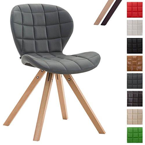 CLP Design Retro-Stuhl ALYSSA, Bein-Form square, Kunstleder-Sitz gepolstert, Lounge-Sessel, Buchenholz-Gestell, Grau, Gestellfarbe: Natura