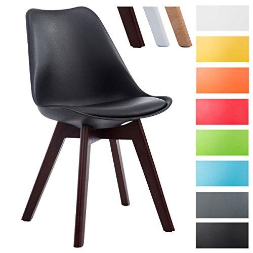CLP Design Retro-Stuhl BORNEO V2 mit Kunstlederbezug und hochwertiger Polsterung | Lehnstuhl mit Holzgestell | Besonders pflegeleichter und strapazierfähiger Stuhl in verschiedenen Farben erhältlich Schwarz, Gestellfarbe: walnuss