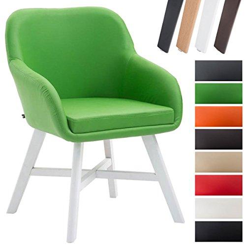 CLP Esszimmerstuhl KEPLER mit Kunstlederbezug, Wartezimmerstuhl mit Armlehnen, Besucherstuhl mit Buchenholzgestell, Küchenstuhl, Grün, Gestellfarbe: Weiß